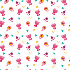 Seamless pattern with colorful simple flowers. A pattern for wrapping paper Vector illustration.