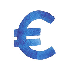Euro. Watercolor illustration of the European Union currency sym