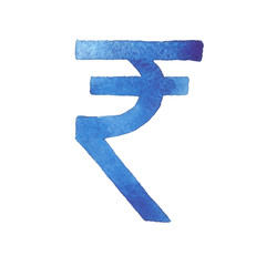Rupee. Watercolor illustration of the Indian currency.