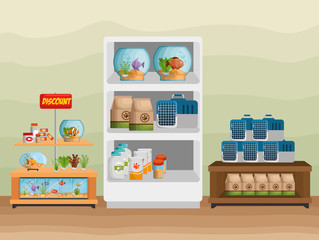 veterinary store shelvings set