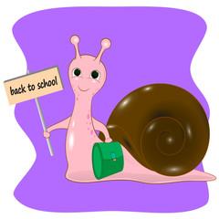 back to school snail cartoon