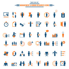 Universal business management and human resources icon set. Universal icons for web and mobile. Vector.