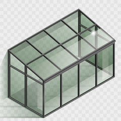 Greenhouse or winter garden. Covered veranda for plants. Glass dome. Modern architecture. Vector graphic with transparency