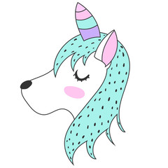 The Unicorn. Magic. Cute. children's adventure. Logo. Print. Card. Scandinavian style.