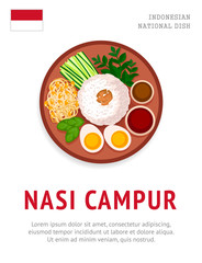 Nasi campur. National indonesian dish. View from above. Vector flat illustration.