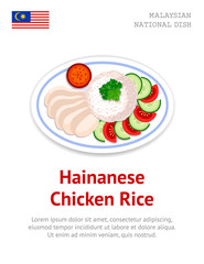 Hainanese Chicken Rice. Traditional malaysian dish. View from above. Vector flat illustration.