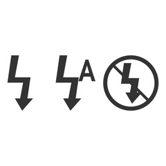 Lightning symbol. Photo flash sign. On/off/auto flash. Vector illustration. Flat design.