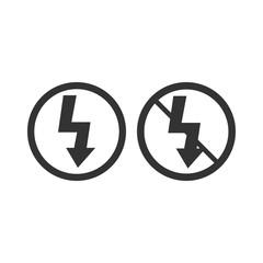 Lightning symbol. Photo flash sign. On/off flash. Vector illustration. Flat design.