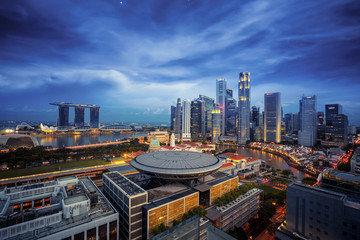 Wall Mural - Sityscape of Singapore city on night time, the main road and Business center, Singapore