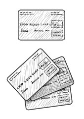 Credit card illustration, drawing, engraving, ink, line art, vector