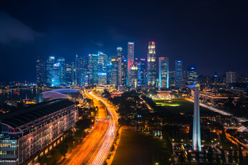 Wall Mural - Sityscape of Singapore city on night time