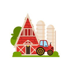 Traditional red barn, silo and tractor, farm buildings, ountryside construction vector Illustrations on a white background