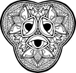 Black and white illustration of a mandala - a flower of life. Eyes and mehendi tatto