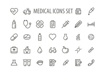 Set line icons sign and symbols in flat design medicine and health