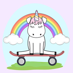 Cute magical unicorn in love on the skateboard. Graphics for t-shirts.