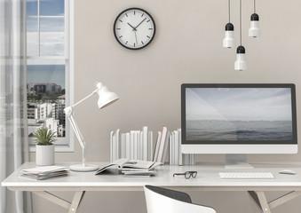 interior design for working area with Desktop computer top desk,working space,working background ,interior of working room , concrete background.3d rendering