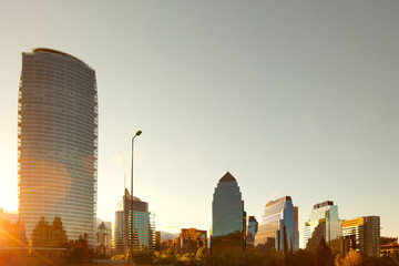 Skyline of  modern buildings at Las Condes district, Santiago, Chile