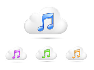 Cloud icon with music symble, Isolated On White Background