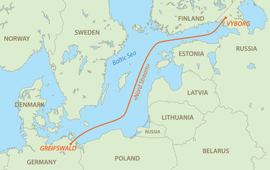 Nord Stream is gas pipeline from Russia to Germany - vector map