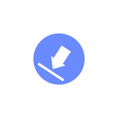 blue and white simple flat vector round download icon