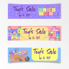 Cute kids toys sale banner with set of different toys for boys and girls isolated. eps10 vector illustration.