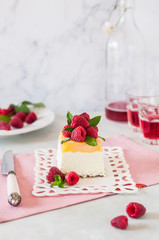 Lemon Semifreddo with Raspberries