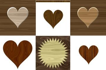 Wood rural rustical isolated heart symbols. Wooden love design pattern. Label divide brown wood heart shape decors set.