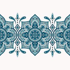 Floral indian paisley pattern vector seamless border. Vintage flower ethnic ornament for sari fabric. Oriental folk design for medallion, india luxury wedding, gypsy clothing, yoga wallpaper.