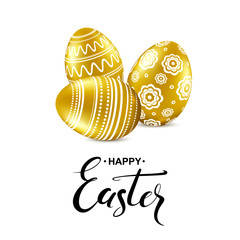 Happy easter card with handwritten calligraphy lettering and gold eggs pattern. Vector illustration.
