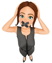 3D Business woman with mouth covered by crossed tape
