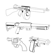 Hand Gun and Machine Gun Vector set