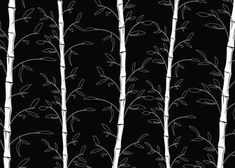 Seamless bamboo pattern background. Line art black and white decorative bamboo branches wallpaper - vector illustration
