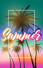 Summer california tumblr backgrounds set with palms, sky and sunset. Summer placard poster flyer invitation card. Summertime.