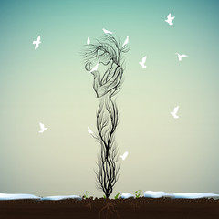 tree silhouette like a woman two white bird and many white pigeon fly to the tree, spring come concept, tree alive idea,