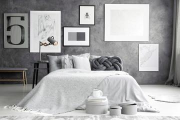 Double bed in cozy bedroom