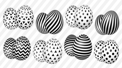 stylish set of Easter eggs with a geometric pattern for the background, design, advertising, packaging, screensaver, ideas. number one