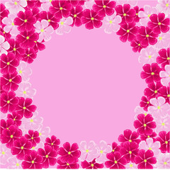 frame of pink flowers .