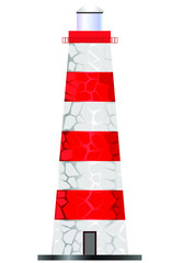 Red and white lighthouse on white background