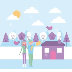 people couple making selfie in winter house trees vector illustration