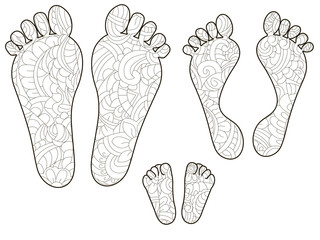 Footprints, dad, mom and baby. Anti stress coloring, vector for adults.