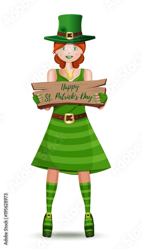 573ba544b Red-haired Irish girl with wooden plaque in hands. Happy St. Patrick's Day.  Vector illustration