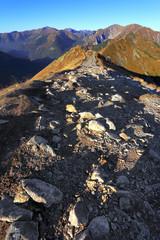 Poland, Tatra Mountains, Zakopane - Goryczkowa Pass na Zakosy and Cicha Liptowska Valley with Czerwne Wierchy peaks and Western Tatra mountain range panorama in background