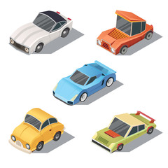 Vector set of isometric urban transportation. Private cars with shadows isolated on white background. Sedan, sport, retro, hatchback automobiles in cartoon style. Collection of city vehicles.