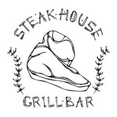 Porterhouse Steak Beef Cut with Lettering in s Thyme Herb Frame. Meat Logo for Butcher Shop, Steak House or Grill Bar Menu. Hand Drawn Illustration. Savoyar Doodle Style.