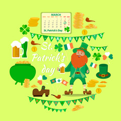 Set of objects dedicated to St. Patrick's day holiday