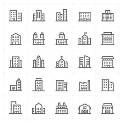 Mini Icon set – Building icon vector illustration
