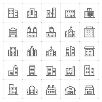 Mini Icon set – Building icon vector illustration