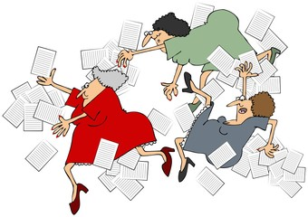 Illustration of 3 women office workers depicting accidents of slipping, tripping & falling spilling papers.