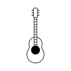 Acoustic guitar cartoon vector illustration graphic design