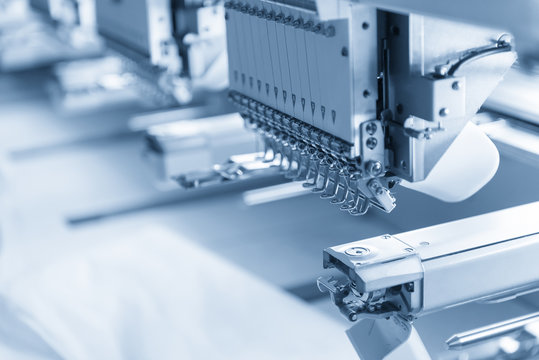 The industry sewing machine in the light blue scene